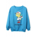 Round Neck Cartoon Print Long Sleeve Pullover Sweatshirt