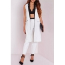 Notched Lapel Color Block Sleeveless Open Front Long Jacket