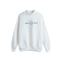 High Neck Long Sleeve Letter Print Sweatshirt