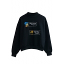 High Neck Black Long Sleeve Cartoon Print Sweatshirt
