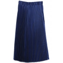 Elastic Plain Pleated Maxi A-Line Skirt