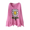 Sunflower Pattern Scoop Neck Long Sleeve Ripped Hem Sweater