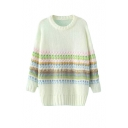 Round Neck Long Sleeve Colorful Stripe Long Sleeve Sweater