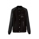 Stand Collar PU Insert Single Breasted Long Sleeve Bomber Jacket