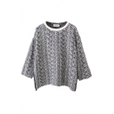 Heathered Round Neck Long Sleeve Pullover Knit Sweater