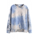 Ombre Round Neck Long Sleeve Sweatshirt