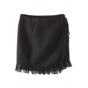 Black Buttons Wrap Tassel Trim Bodycon Skirt