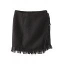 Black Buttons Wrap Tassel Trim Bodycon Skirt
