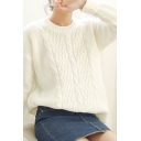 Cable Knit Long Sleeve Round Neck Fitted Sweater