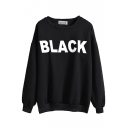 Letter Print Round Neck Long Sleeve Fitted Sweatshirt