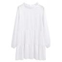 White Round Neck Long Sleeve Plain Smock Dress