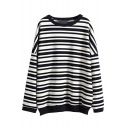 Black&White Stripe Print Long Sleeve Sweatshirt