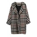 Plaid Print Lapel Single Button Woolen Coat