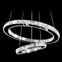 Two Crystal Rings Brilliant Design Large Pendant Light Shine with Clear Crystals
