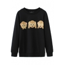 Round Neck Long Sleeve Monkey Print Pullover Sweatshirt