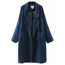 Notched Lapel Long Sleeve Plain Long Denim Coat