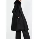 Faux Fur Lapel Neck Sleeveless Long Plain Coat