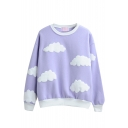 Round Neck Long Sleeve Cloud Print Sweatshirt
