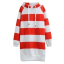 Hooded Long Sleeve Tunic Stripe Print Sweatshirt