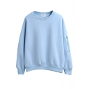 Round Neck Long Sleeve Zipper Detail Plain Sweatshirt