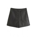 Plain Wide Leg Wave Hem Pocket Woolen Shorts