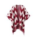 Geometric Pattern Colorblock Batwing Sleeve Open Front Tassel Hem Cape