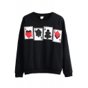 Cards Print Round Neck Long Sleeve Sweatshirt