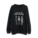 Round Neck Print Long Sleeve Pullover Black Sweatshirt