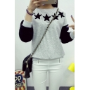 Color Block Star Print Round Neck Long Sleeve Sweatshirt