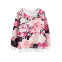 Letter Floral Print Long Sleeve Round Neck Sweatshirt