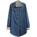 Lapel Double Pockets Long Sleeve Button Down Shirt