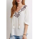 Drawstring Neck Half Sleeve Embroidery Blouse