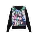 Floral Print Round Neck Long Sleeve Sweatshirt