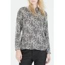 Lapel Long Sleeve Button Down Print Shirt