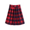 Elastic Waist Plaid A-Line Midi Skirt