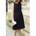 Plain Zipper Back Round Neck Sleeveless Woolen Bodycon Dress