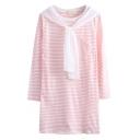 Stripe Long Sleeve Single Pocket T-Shirt Dress with Scarf