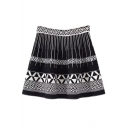 High Waist Geometric Print Knit Skirt