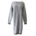 Gray Long Sleeve Color Block Trim Sweater Dress