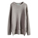 Plain Long Sleeve Round Neck High Low Sweater