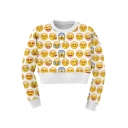 White Long Sleeve Cute Emoji Print Crop Sweatshirt