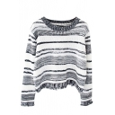 Stripe Boat Neck Long Sleeve Tassel Trim Crop Sweater