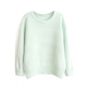 Plain Round Neck Long Sleeve Angola Sweater