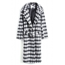 Double Breasted Lapel Plaid Tie Belted Long Coat