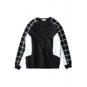 Round Neck Long Sleeve Pullover Plaid Detail Sweatshirt