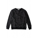 Black Round Neck Long Sleeve Plaid Pullover Sweatshirt