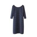 Stripe Scoop Neck Half Sleeve Shift Dress