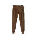 Zipper Fly Plain Elastic Ankle Casual Pants