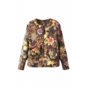Floral Print Collar Zipper Long Sleeve Double Pocket Cotton Padded Coat