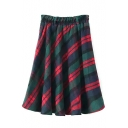 Elastic Waist Plaid Flared Maxi Skirt